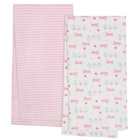 Gerber Organic 4-Pack Flannel Blankets, Love and Stripe