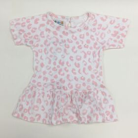 Coyote and Co. Pink & white leopard print tee with peplum - size 6-9 months