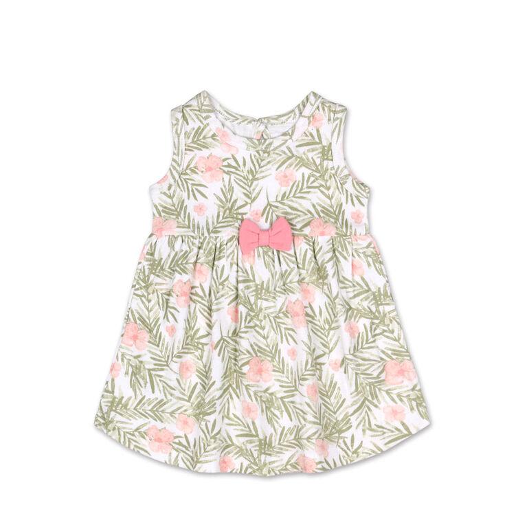 Koala Baby Short Sleeve Green Floral Print Dress - 12 Month