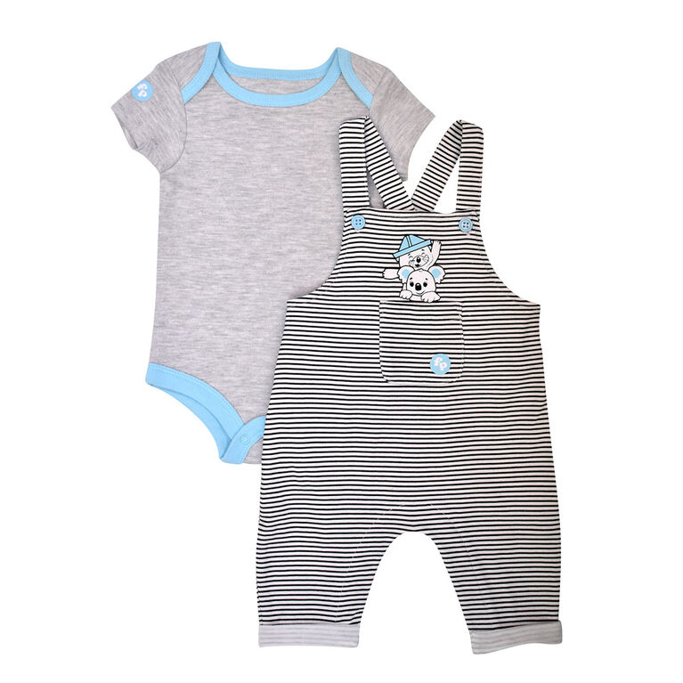 Fisher Price 2 PC overall set - White, 12 months