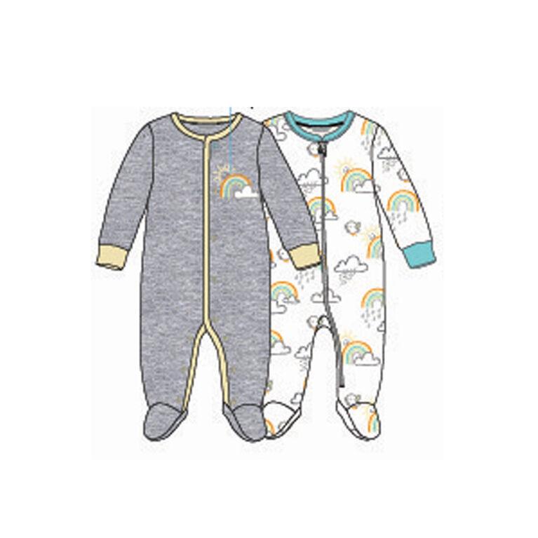 Paquet De 2 Dormeuses Koala Baby Unisexe Arc En Ciel Gris, Jaune 9-12 Mois