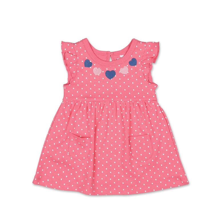 Koala Baby Short Sleeve Pink Heart Polka Dot Dress - 18 Month