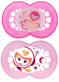 MAM Night Silicone Pacifier 2-pack - 6+ Months - Pink