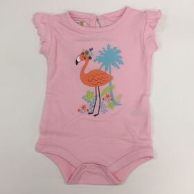 Coyote and Co. Ruffle sleeve diaper shirt - pink flamingo - size 9-12 months