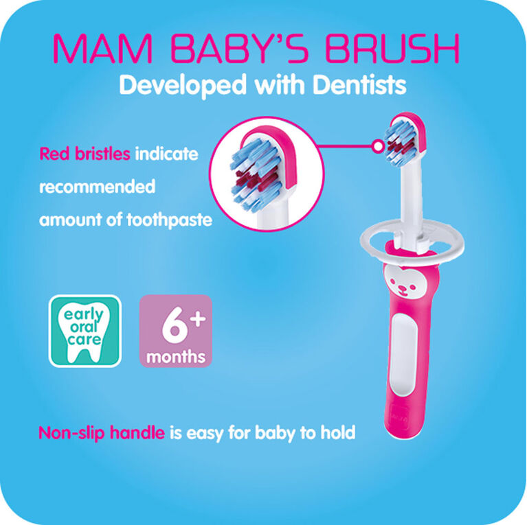 MAM Baby's Brush, 6+ Months, 2-Count, Boy