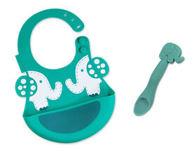 Marcus & Marcus Baby Bib & Feeding Spoon Set - Ollie the Elephant - Green.