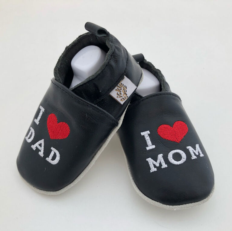 Tickle-toes Black I Love Mom/Dad 100% Soft Leather Shoes 18-24 Months