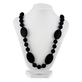Nuby Teething Trends Teething Necklace with Round+Flat Beads - Black