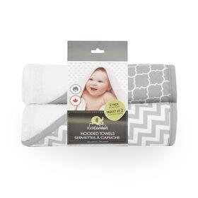 KidiComfort Serviette de bain à capuche - paquet de deux gris - Styles variées.