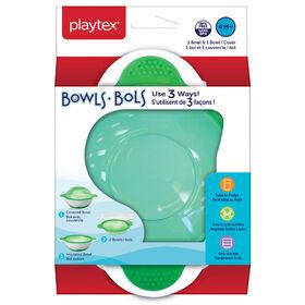Assiettes Playtex sans BPA s'utilisant de 3 façons pour bébés de 4 mois et plus (une assiette et un couvercle) - vert.