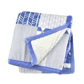 Just Born Seude Plush Blanket - Blue