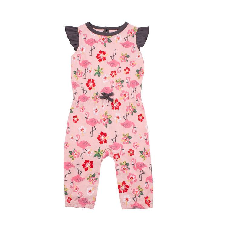 Snugabye Girls-Ruffle Sleeve Long Romper-Floral Pink  9-12 Months