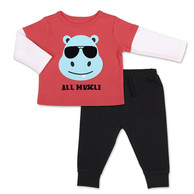 Koala Baby Hippo Long Sleeve Tee/ Jogger 2 Piece Set, 24 Month