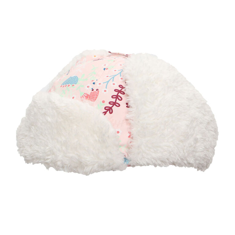 FlapJackKids - Baby, Toddler, Kids, Girls - Water Repellent Trapper Hat - Sherpa Lining - Floral Pink - Medium 2-4 years
