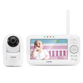 Le moniteur de bébé de 5 po couleur à 1 caméra à panoramique, inclinaison et zoom, et vision automatique, blanc modèle VM5262 de VTech..
