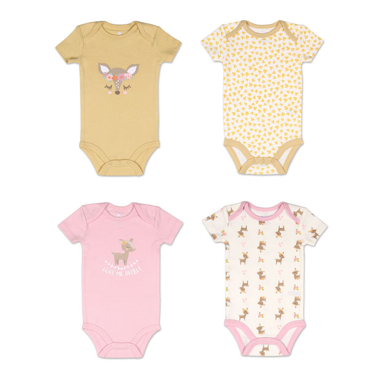Koala Baby 4 Pack Short Sleeved Bodysuit, Love Me Deerly, 12-18 Months