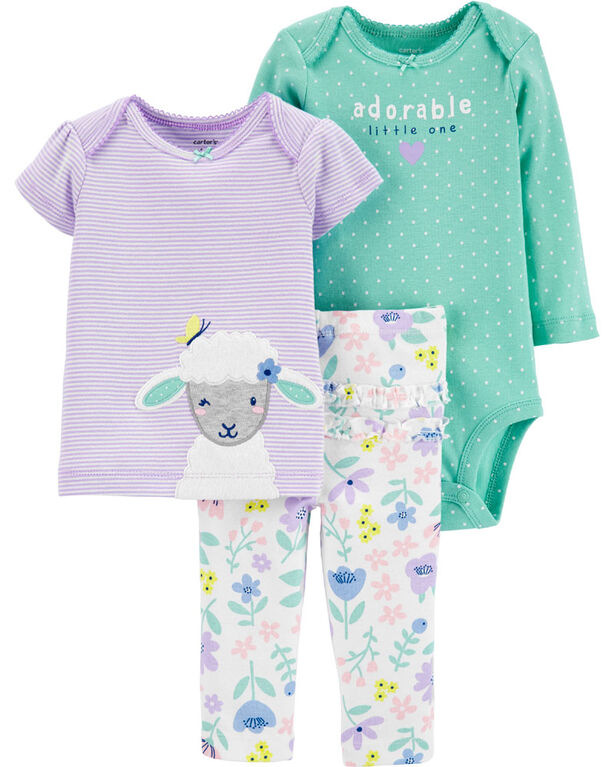 Carter's 3-Piece Sheep Little Character Set - Turquoise/Purple, 3 Months