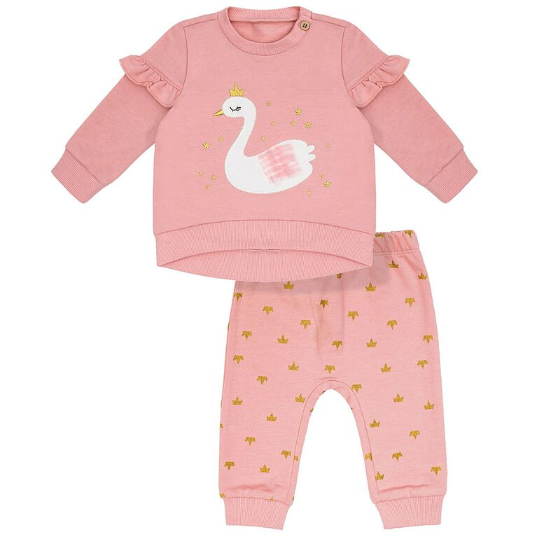 Petit Lem Baby Girls Top & Jogger Set 2pc Swan Lake Pink, 9 Months
