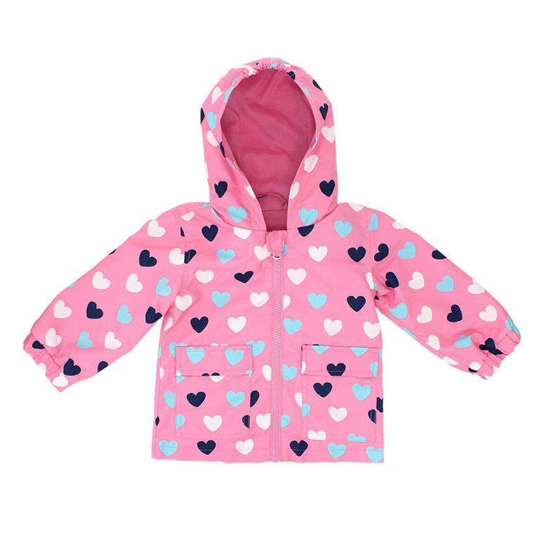 Northpeak Baby Girls Fashion Jacket- Candy Pink Hearts - 12 Months