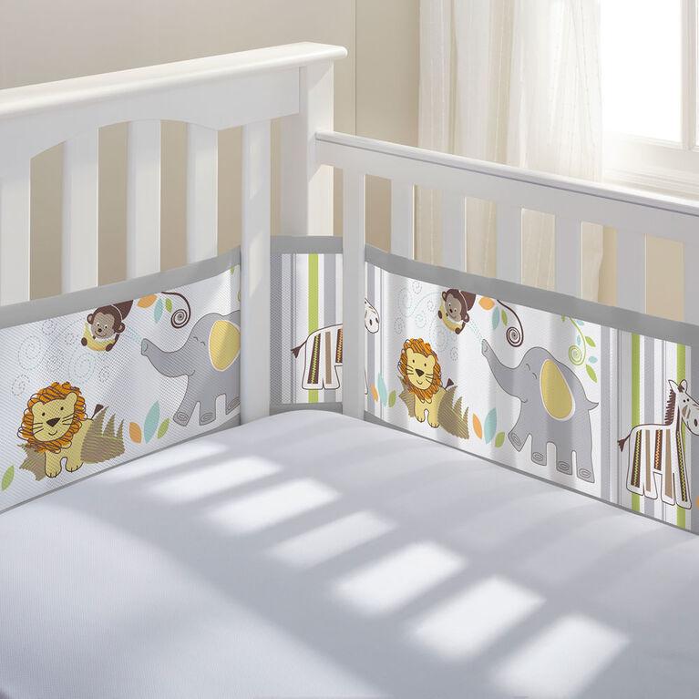 BreathableBaby Breathable Crib Bumper - Grey Safari