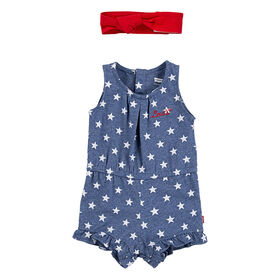 Levis Romper with Headband - Blue, 6 Months