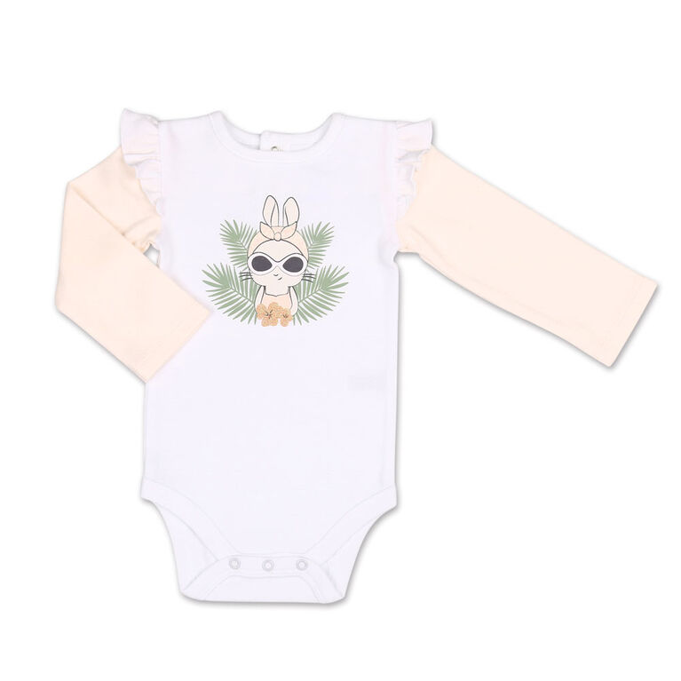 Koala Baby Tropical Girl Bunny Bodysuit/Floral Jogger 2 Piece Set, Newborn