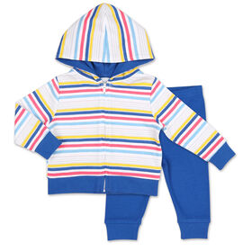 Koala Baby Summer Fun Striped Hoodie/Jogger 2 Piece Set, 24 Month