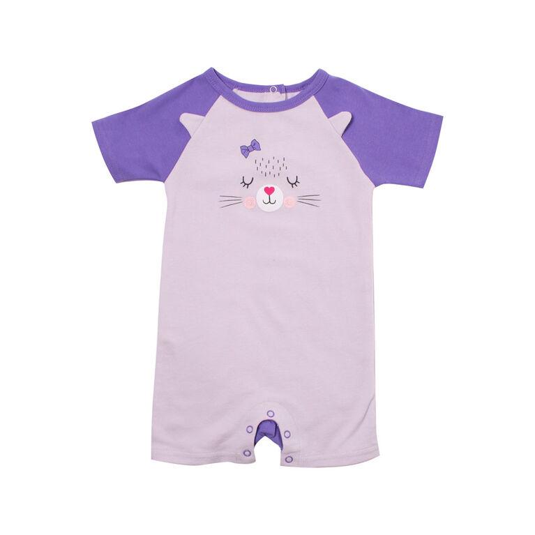 Snugabye Girls Panda Face Romper - Purple Cat 9-12 Months