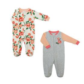 Koala Baby Girls 2 Pack Sleeper - Floral Peach, 6 Months