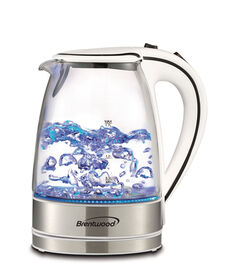 Brentwood 1.7L Cordless Glass Electric Kettle - White