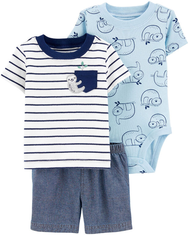 Carter's 3-Piece Sloth Diaper Cover Set - Blue, Newborn