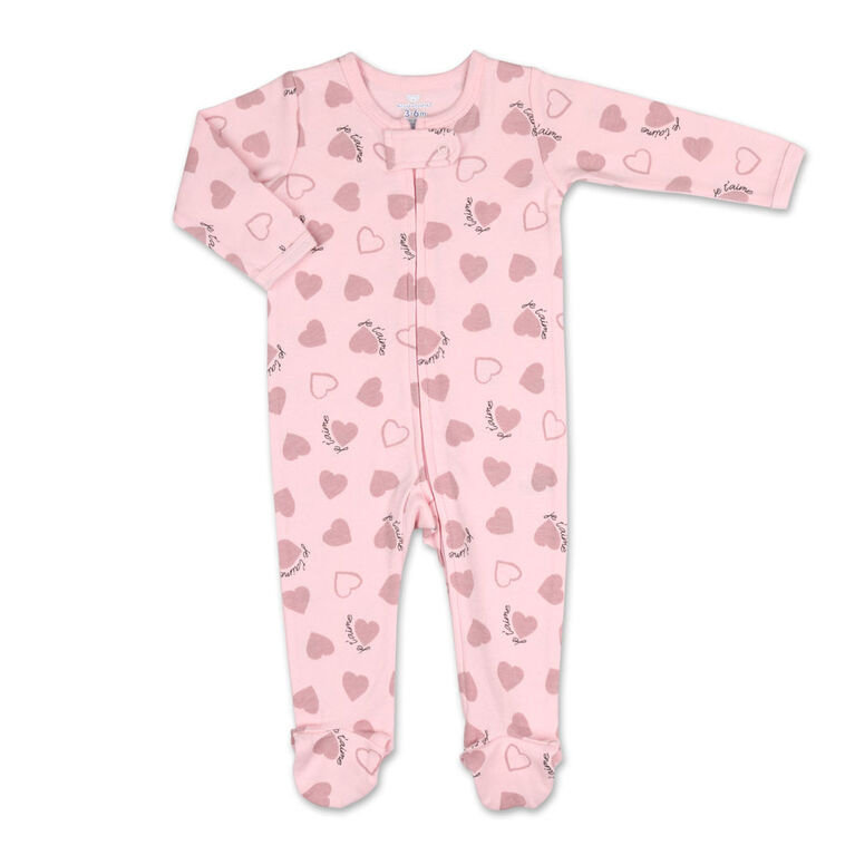 Koala Baby Je T'Aime Pink Heart Print Zip-Front Sleeper, 3-6 Months