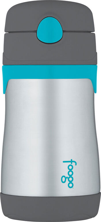 Thermos Foogo 290 ml Stainless Steel Straw Bottle - Charcoal with Teal Accents