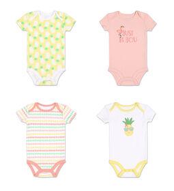 Koala Baby 4Pk Short Sleeved Bodysuit, G Pineapple, Preemie