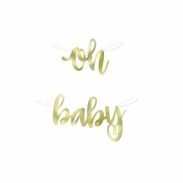 Bannière De Script En Feuille D`Or, 2.8Ft - ``Oh Baby`` - Édition anglaise