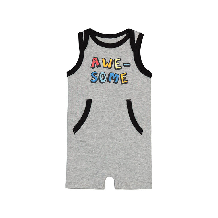 Snugabye Boys - Sleeveless Romper W/Konga Pocket - Awesome Grey 18-24 Months