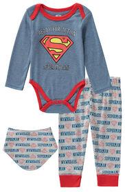 Superman 3 Piece Bodysuit Pant Bib Set 3-6 Months - Blue