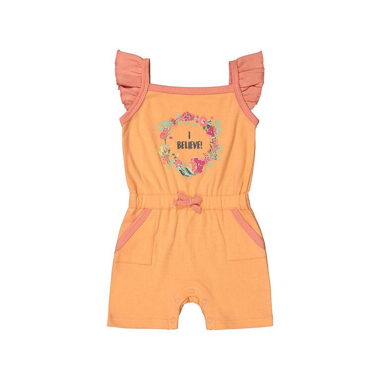 Snugabye Girls - Flutter Shorts Romper - I Believe Coral 6-9 Months