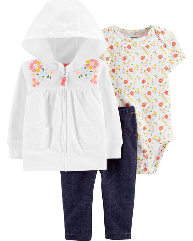 Carter's 3-Piece Floral Cardigan Set - Ivory/Blue, 6 Months