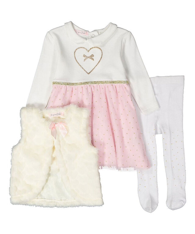 Bonjour Bebe - Girls 3 Piece Dress Set : Heart - 3-6 Months