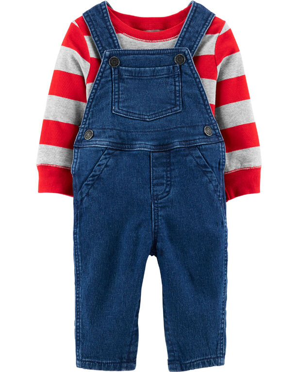 Carter's 2-Piece Striped Tee & Overall Set - Red/Grey/Blue, 9 Months