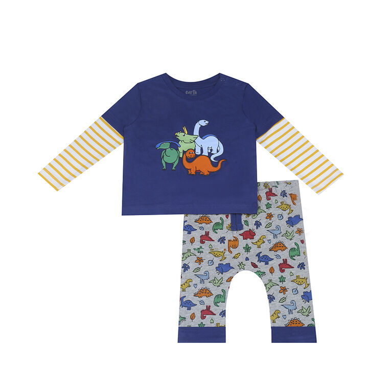 Earth by Art & Eden - Ensemble de 2 pantalons Zach - Bleu, 3 mois