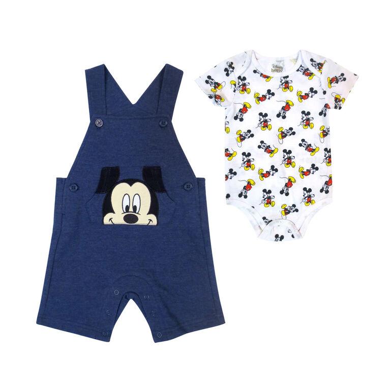 Disney Mickey Mouse ensemble Salopette courte 2 morceaux - Bleu, 9 mois