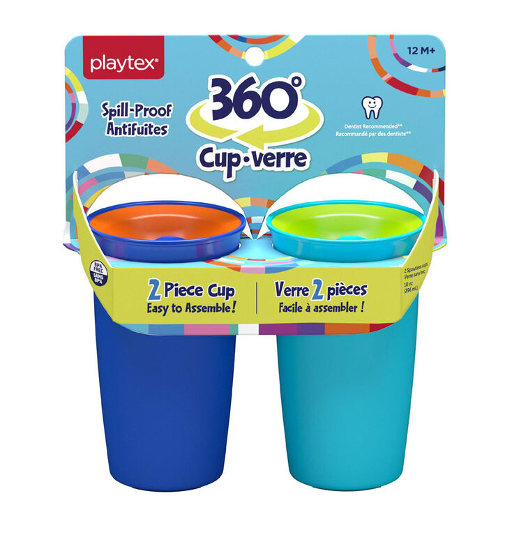 Playtex Spoutless 360 Cup - Blue 10oz 2 pack