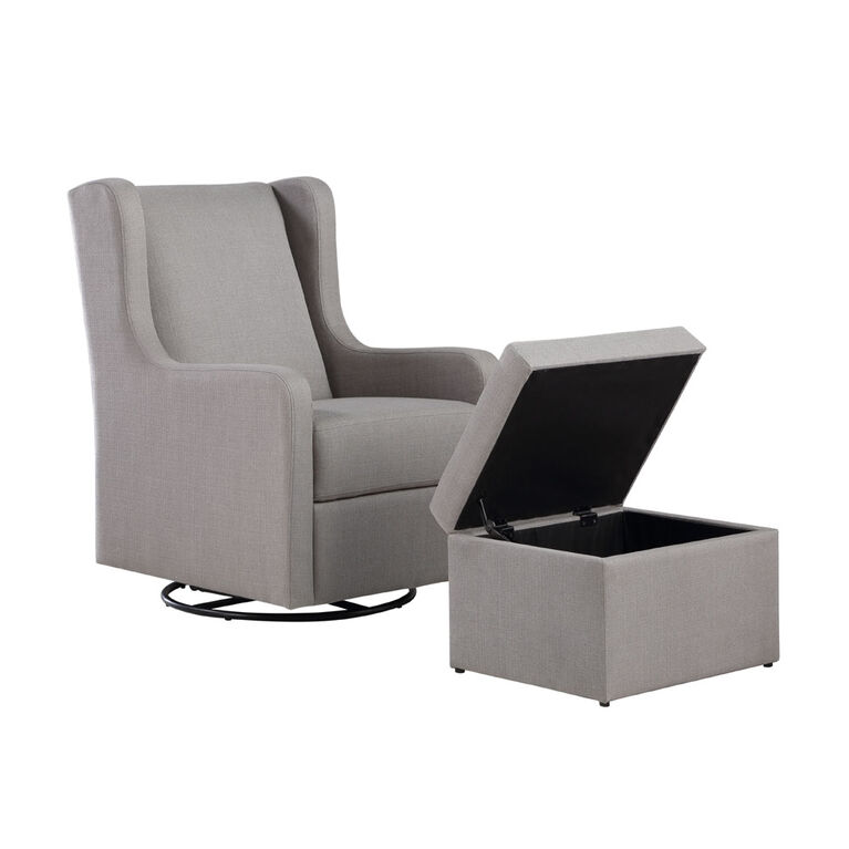 Lennox Glider Swivel with Storage Ottoman LUCA Grey