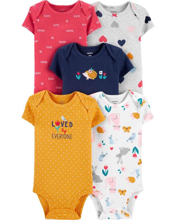 Carter's 5-Pack Hearts Original Bodysuits Multi-Color - Newborn