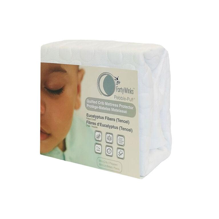 Forty Winks - Natural Tencel (Eucalyptus) Waterproof, Breathable Mini Crib / Play-Yard Mattress Protector - White