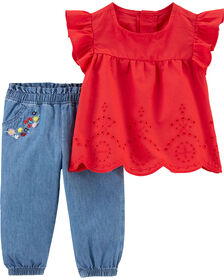 Carter's 2-Piece Flutter Sleeve Top & Chambray Pant Set - Red/Blue, 3 Months