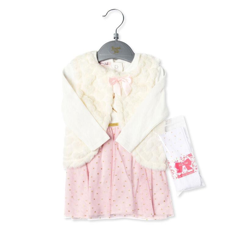 Bonjour Bebe - Girls 3 Piece Dress Set : Heart - 12-18 Months