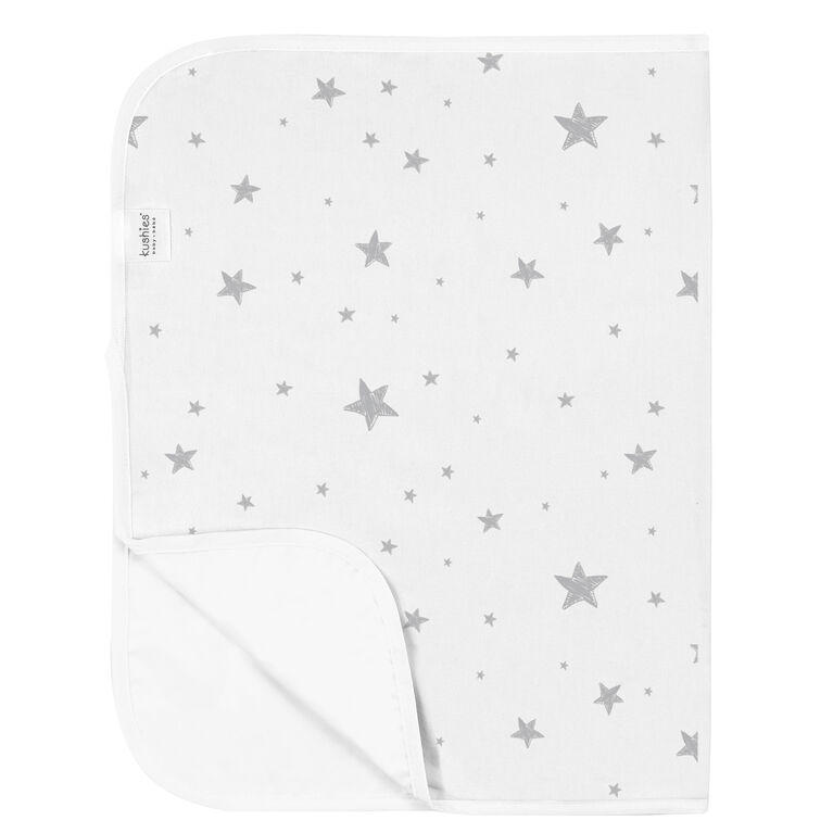 Kushies Portable Changing Pad Liner Flannel Grey Scribble Stars
